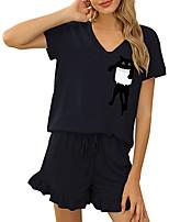 cheap -Women Basic Streetwear Cat Vacation Casual / Daily Two Piece Set Tracksuit T shirt Loungewear Shorts Drawstring Ruffle Print Tops