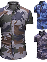 cheap -Men's Hiking Jacket Hiking Shirt / Button Down Shirts Short Sleeve Shirt Coat Top Outdoor Quick Dry Lightweight Breathable Sweat wicking Autumn / Fall Spring Summer Camo / Camouflage Army green