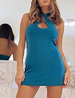 cheap -Women's A Line Dress Short Mini Dress Blue Green Sleeveless Solid Color Backless Summer Halter Neck Casual Sexy 2021 S M L