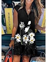 cheap -Women's A Line Dress Short Mini Dress Black Royal Blue Gray Light Blue Short Sleeve Floral Solid Color Fall Summer V Neck Elegant Casual 2021 S M L XL XXL