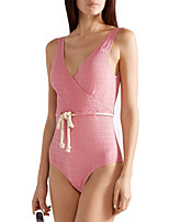 cheap -Women's One Piece Swimsuit Spandex Swimwear Bodysuit Quick Dry Breathable Sleeveless Drawstring - Swimming Surfing Water Sports Solid Colored Summer