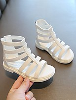 cheap -Girls' Flats Comfort Children's Day Princess Shoes PU Little Kids(4-7ys) Big Kids(7years +) Daily Party & Evening Walking Shoes Buckle White Black Spring Summer