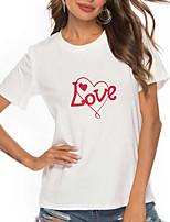 cheap -Women's T shirt Heart XOXO Print Round Neck Tops 100% Cotton Basic Basic Top White Red
