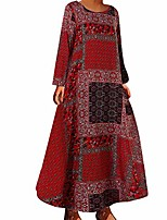 cheap -women's crew neck dress casual loose long sleeve cotton linen dresses floral printed boho swing maxi dress plus size red