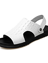 cheap -Men's Sandals Leather Shoes Flat Sandals Casual Beach Daily Outdoor Water Shoes Upstream Shoes Nappa Leather Cowhide Breathable Non-slipping Shock Absorbing Booties / Ankle Boots White Black Brown