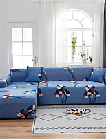cheap -Blue Floral Print Dustproof All-powerful  Stretch L Shape Sofa Cover Super Soft Fabric Sofa Furniture Protector with One Free Boster Case
