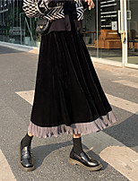 cheap -Women's Vacation Casual / Daily Casual Streetwear Skirts Color Block Ruffle Patchwork Black