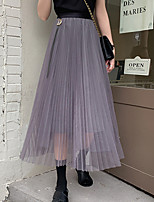 cheap -Women's Holiday Weekend Casual Streetwear Skirts Solid Colored Pleated Black Beige Gray