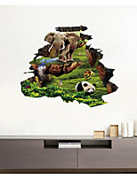 cheap -3D Broken Wall Animal Park Shade Grass Home Background Decoration Can Be Removed