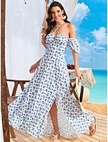cheap -Women's Sundress Maxi long Dress White Short Sleeve Floral Spring Summer Elegant Sexy 2021 S M L XL