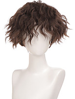 cheap -Short Curly Synthetic Hair Wigs For Men Boy Costume Cosplay Party Natural Black Heat Resistant Fake Hair