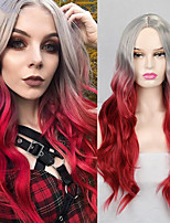 cheap -Synthetic Wig Deep Wave Middle Part Wig Medium Length A1 Synthetic Hair Women's Cosplay Party Fashion Red Dark Gray