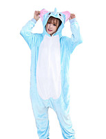 cheap -Adults' Kigurumi Pajamas Elephant Onesie Pajamas Flannelette Blue Cosplay For Men and Women Animal Sleepwear Cartoon Festival / Holiday Costumes