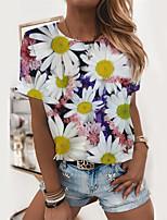 cheap -Women's T shirt Floral Graphic Print Round Neck Tops Basic Basic Top White Blushing Pink