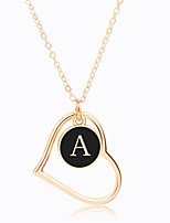 cheap -hollow peach heart 26 english letter necklace simple letter pendant necklace female