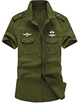cheap -Men's Hiking Jacket Hiking Shirt / Button Down Shirts Short Sleeve Shirt Coat Top Outdoor Quick Dry Lightweight Breathable Sweat wicking Autumn / Fall Spring Summer ArmyGreen White Black Hunting