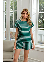 cheap -Women's Basic Cinched Striped Vacation Home Two Piece Set Tracksuit T shirt Loungewear Shorts Drawstring Print Tops