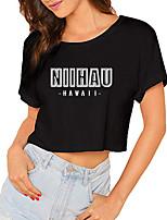 cheap -Women's Crop Tshirt Letter Print Round Neck Tops 100% Cotton Basic Basic Top Black