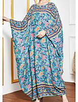 cheap -Women's Kaftan Dress Maxi long Dress Blue Long Sleeve Floral Patchwork Summer Round Neck Casual 2021 One-Size