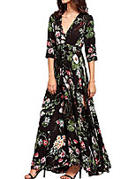 cheap -summer boho maxi long dress for women, retro v-neck floral print button up split party beach flowy dresses (black half sleeve,xxl)