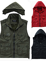 cheap -Men's Hiking Vest / Gilet Fishing Vest Sleeveless Vest / Gilet Jacket Top Outdoor Quick Dry Lightweight Breathable Sweat wicking Autumn / Fall Spring Summer Shallow Khaki Black Red Hunting Fishing