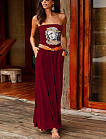cheap -Women's Sheath Dress Maxi long Dress Black Purple Red Wine Army Green Dusty Rose Green Royal Blue Dark Gray Navy Blue Sleeveless Print Summer Strapless Casual 2021 S M L XL XXL
