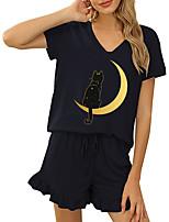cheap -Women Basic Streetwear Print Cat Vacation Casual / Daily Two Piece Set Tracksuit T shirt Loungewear Shorts Drawstring Ruffle Print Tops