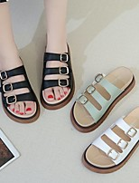 cheap -Women's Sandals Flat Heel Round Toe PU Buckle Solid Colored White Black Green