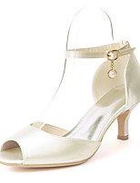 cheap -Women's Wedding Shoes Kitten Heel Peep Toe Satin Imitation Pearl Solid Colored White Purple Red