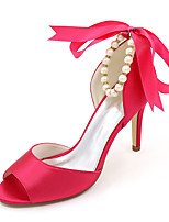 cheap -Women's Wedding Shoes Stiletto Heel Peep Toe Satin Imitation Pearl Ribbon Tie Lace-up Solid Colored White Red Fuchsia