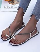 cheap -Women's Sandals Flat Heel Round Toe PU Rhinestone Solid Colored White Black