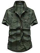 cheap -Men's Hiking Shirt / Button Down Shirts Fishing Shirt Military Tactical Shirt Short Sleeve Jacket Shirt Top Outdoor Quick Dry Lightweight Breathable Sweat wicking Autumn / Fall Spring Summer Blue