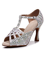 cheap -2021 Women's Latin Shoes Salsa Shoes Glam High Heel  Faux Pearl Crystal / Rhinestone  Open Toe White Black Khaki Buckle Glitter Crystal Sequined Jeweled / Satin
