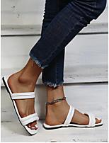 cheap -Women's Slippers & Flip-Flops Flat Heel Open Toe PU Solid Colored White Black Yellow