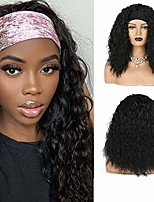 cheap -kinky curly headband wig for black women,long natural black wave curly wigs with headband attached deep wave wig easy to wear machine made head wrap wig for black women headband wig curly (20 inch)