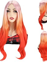 cheap -Synthetic Hair Wigs Color Wigs Cosplay Party Wigs Pink Orange Long Wavy Wigs For Black Women