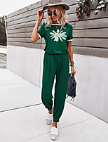 cheap -Women's Basic Streetwear Floral Vacation Casual / Daily Two Piece Set Tracksuit T shirt Pant Loungewear Drawstring Print Tops