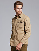 cheap -Men's Hiking Jacket Hiking Shirt / Button Down Shirts Long Sleeve Shirt Coat Top Outdoor Quick Dry Lightweight Breathable Sweat wicking Autumn / Fall Spring Summer ArmyGreen khaki Hunting Fishing