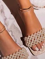 cheap -Women's Slippers & Flip-Flops Flat Heel Open Toe PU Solid Colored Black Blue Pink