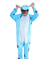 cheap -Adults' Kigurumi Pajamas Blue Monster Onesie Pajamas Flannelette Blue Cosplay For Men and Women Boys and Girls Animal Sleepwear Cartoon Festival / Holiday Costumes