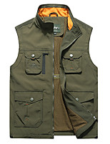 cheap -Men's Hiking Vest / Gilet Fishing Vest Sleeveless Vest / Gilet Jacket Top Outdoor Quick Dry Lightweight Breathable Sweat wicking Autumn / Fall Spring Summer Blue khaki Army Green Hunting Fishing