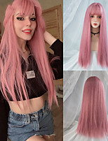 cheap -Cosplay Wig With Bangs Synthetic Straight Hair 24 Inch Long Heat-Resistant Pink Wig For Women