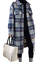 cheap -tanming women's casual lapel plaid button up wool blend coat shirt shacket (green, m)