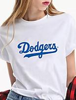 preiswerte -Damen Kalifornien Los Angeles T-Shirt Text Druck Rundhalsausschnitt Oberteile 100% Baumwolle Grundlegend Basic Top Weiß Schwarz Blau