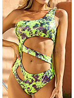 cheap -Women's One Piece Monokini Swimsuit Push Up Print Color Block Tie Dye Green Swimwear Padded Bathing Suits New Casual Sexy