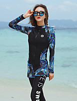 cheap -Women's Rash Guard Dive Skin Suit Spandex Swimwear UV Sun Protection Quick Dry Long Sleeve 5-Piece - Swimming Diving Surfing Snorkeling Floral / Botanical Autumn / Fall Spring Summer