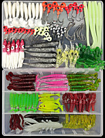 cheap -144 pcs Lure kit Fishing Lures Soft Bait Jig Head Craws / Shrimp Worm Shad lifelike Bass Trout Pike Sea Fishing Lure Fishing Freshwater and Saltwater
