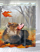 cheap -Squirrel Looking At Leaf Digital Printing Shower Curtain Shower Curtains  Hooks Modern Polyester New Design