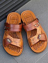 cheap -Men's Sandals Casual Beach Daily Walking Shoes PU Breathable Non-slipping Wear Proof Black Brown Summer