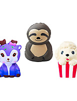 cheap -3PCS Animal Pack Artificial Toys Slow Rising Squishies Sloth Galaxy Deer Puppy Chips Anxious Relief Soft Toys